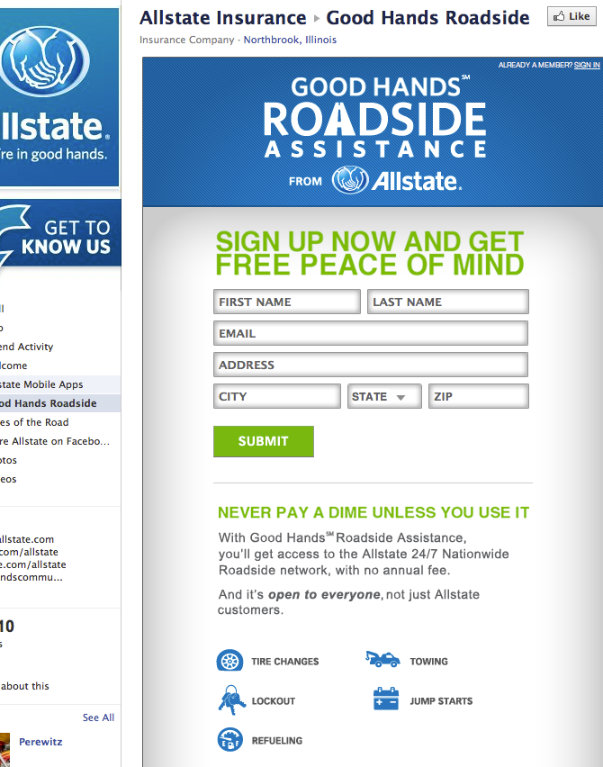 Allstate Roadside Sign-Up